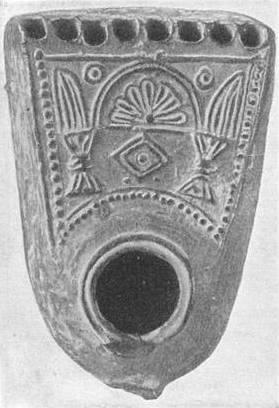 Hanukkah lamp unearthed near Jerusalem, c. 1900