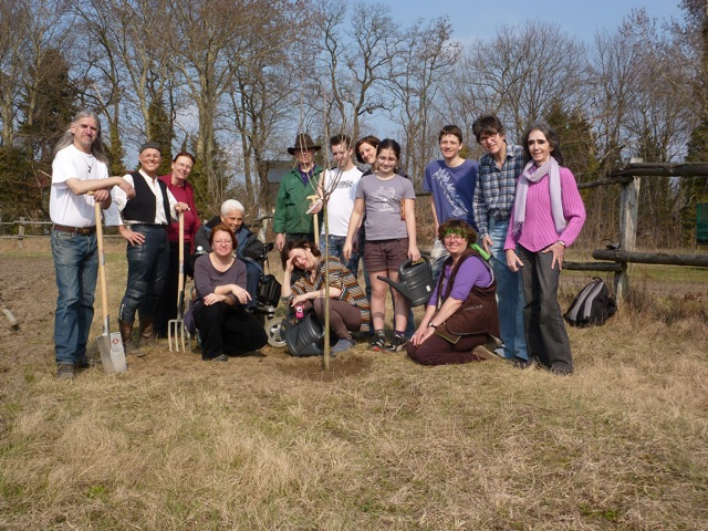 Members of Ohel Hachidusch gather for tree planting at their eco-kashrut garden in Gatow, Berlin. Credit: Brian Swarthout, March, 2012.