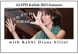 Rabbi Diane Elliot gestures in the air, with the words 'Embody Torah' photoshopped between her outstretched hands