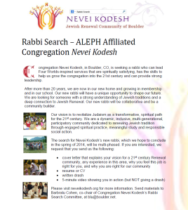 Nevei Kodesh Rabbi Search Announcement